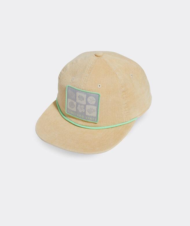 Beach Icons Retro Corduroy Baseball Hat