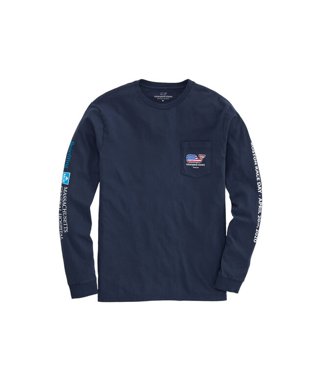 Boston Marathon USA Whale Men's Long-Sleeve Tee