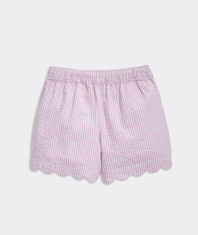 Girls' Seersucker Scallop Shorts