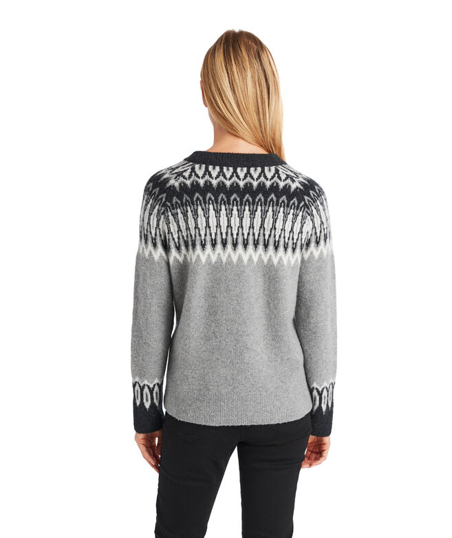 Luxe Tonal Fair Isle Crew Sweater