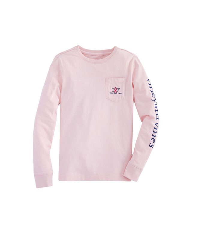 Girls Long-Sleeve Breast Cancer Awareness Ribbon Whale Pocket Tee