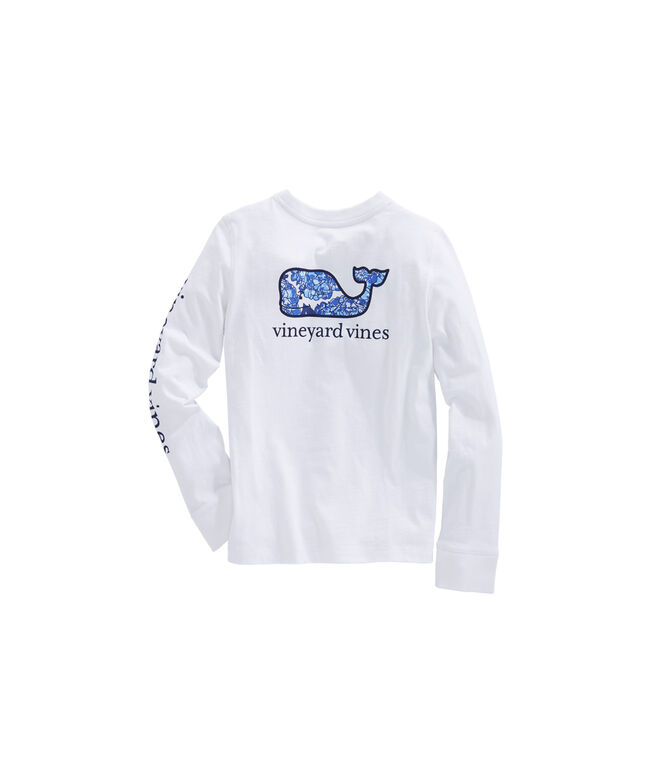 Girls Long-Sleeve Classic Hydrangea Whale Fill Tee