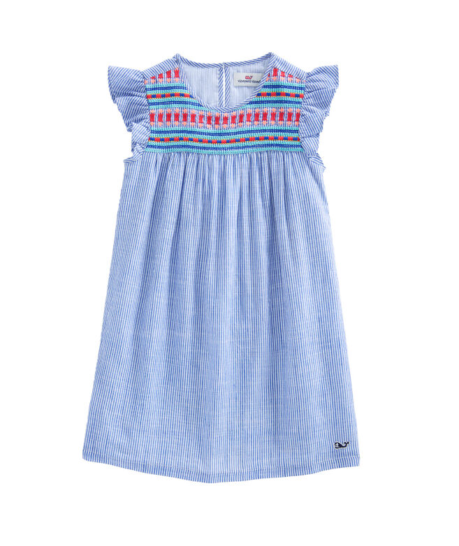 Girls Embroidered Flutter Sleeve Dress