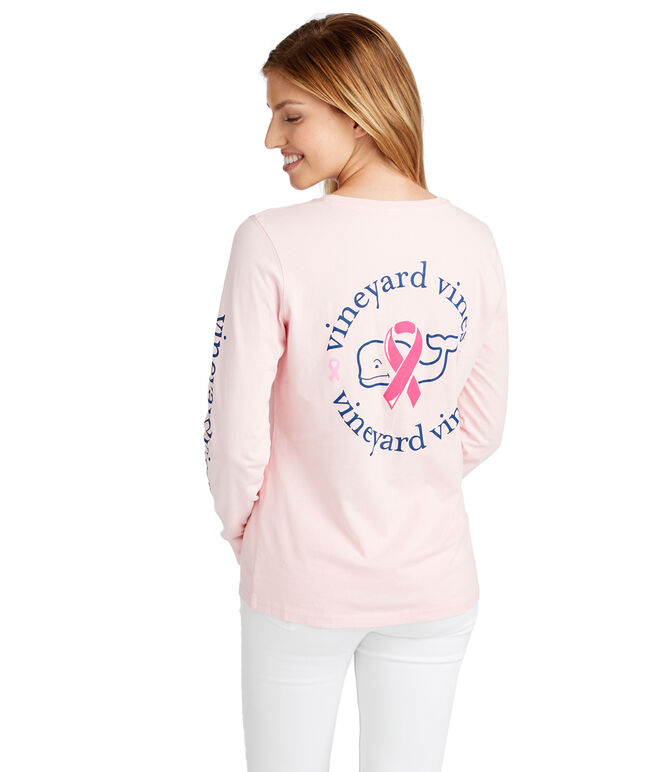 Womens Long-Sleeve Breast Cancer Awareness Ribbon Whale Pocket Tee
