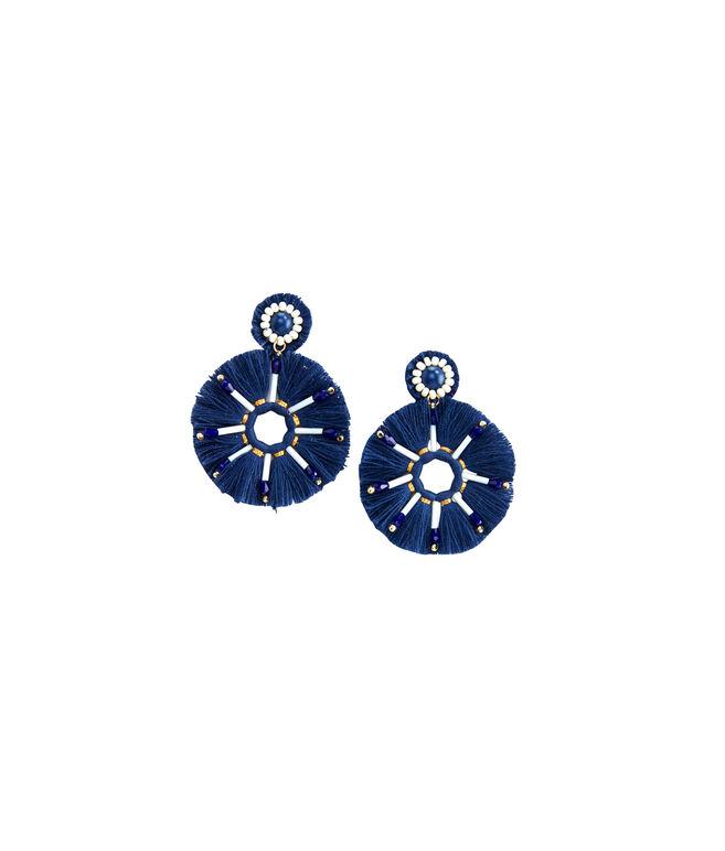 Navy Circle Tassel Earrings