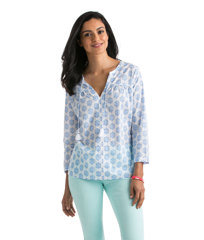 Medallion Print Woven Top