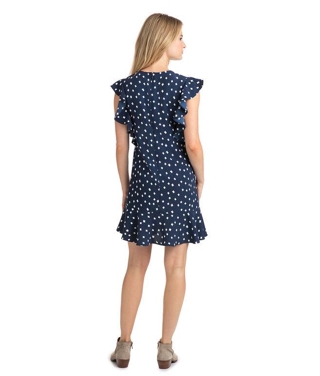 Diamond Printed Flounce Sleeve Dress