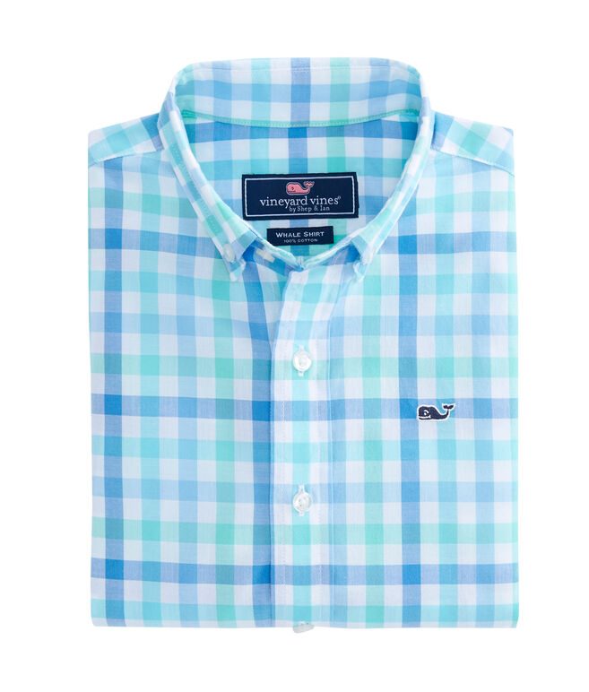 Boys Eagles Nest Gingham Whale Shirt