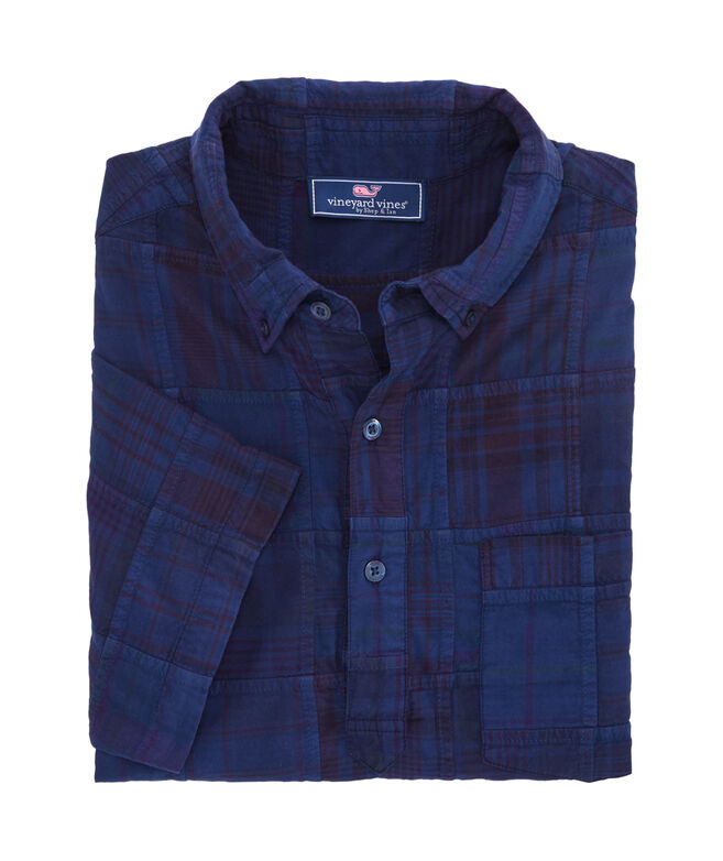 Slim Fit Patchwork Short-Sleeve Popover Shirt