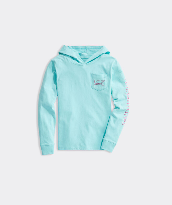 Girls' Foil Whale Hoodie Long-Sleeve Pocket Tee