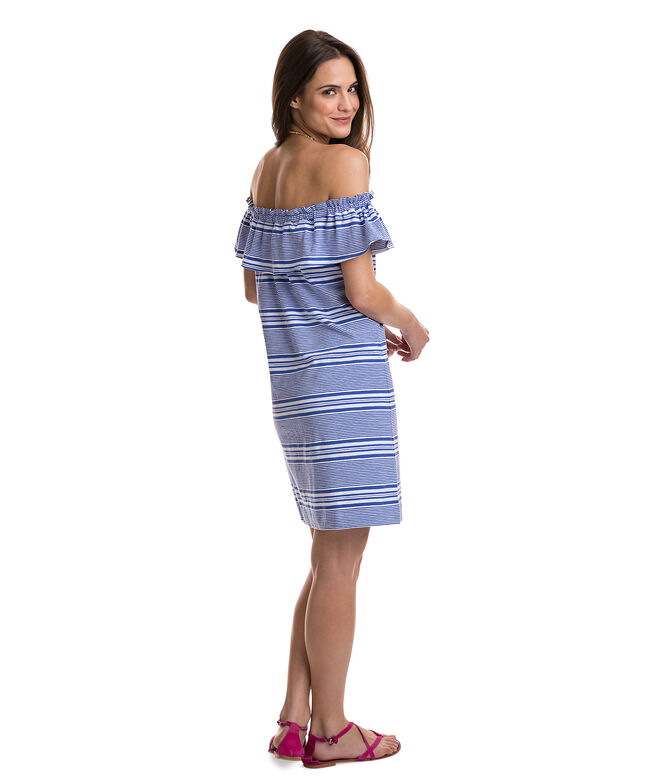 Yarn Dye Stripe Off The Shoulder Knit Dress