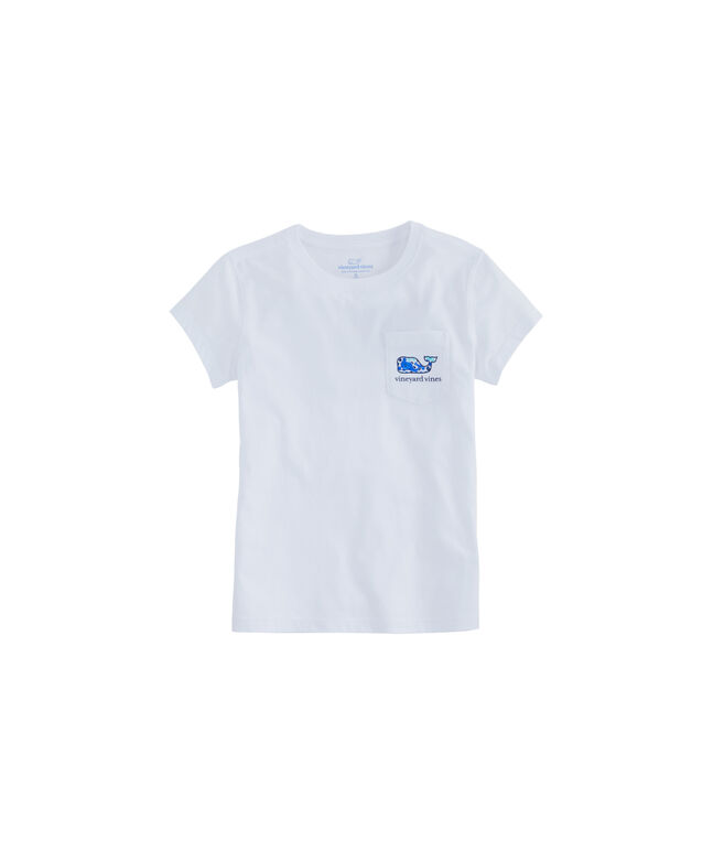 Girls Tiny Diamond Whale Fill Short-Sleeve Pocket Tee