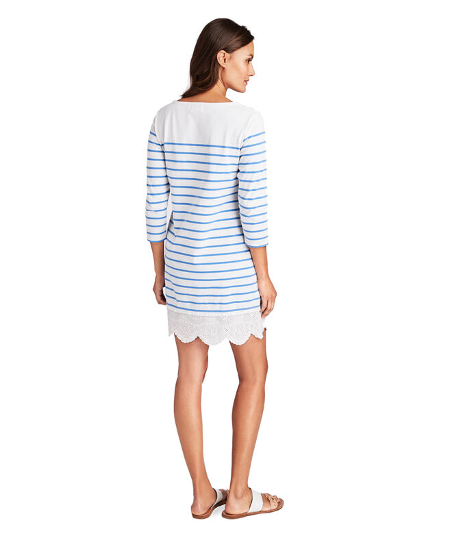 Long-Sleeve Stripe Knit Lace Hem Dress