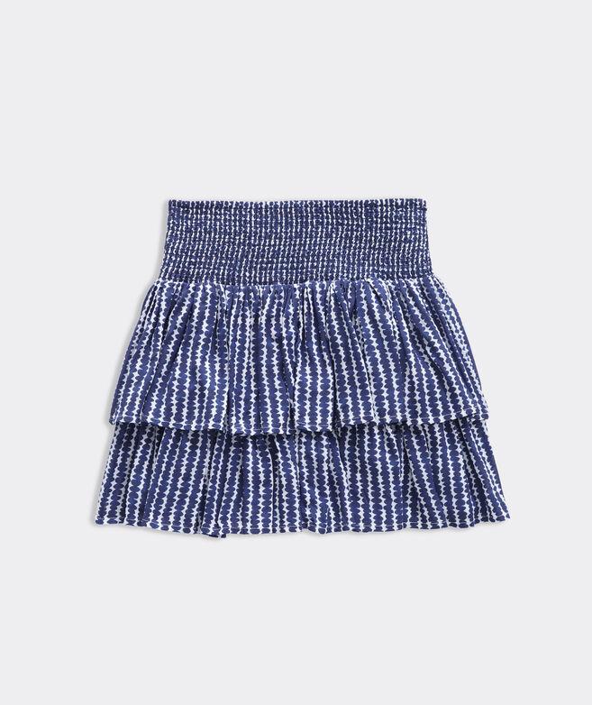 Girls' Smocked Dot Stripe Tiered Skirt