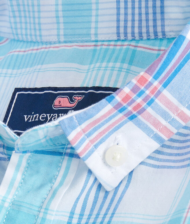 Boys Short-Sleeve Byram Shores Beach Tartan Whale Shirt