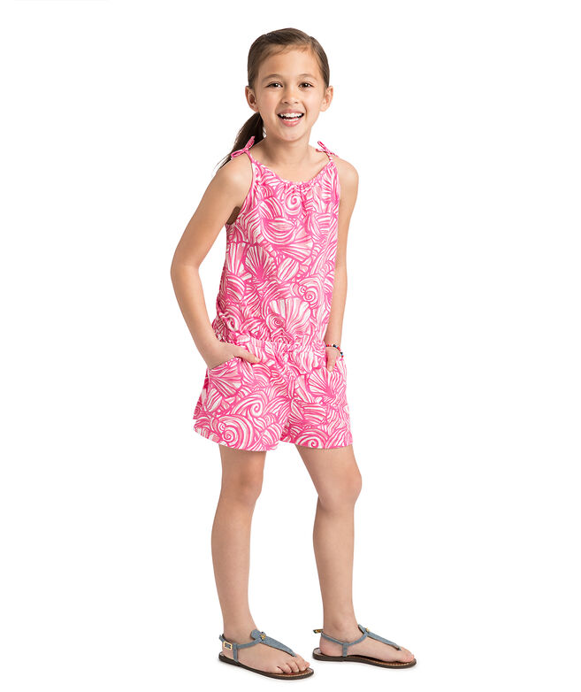 Girls Nautilus Shell Print Knit Romper