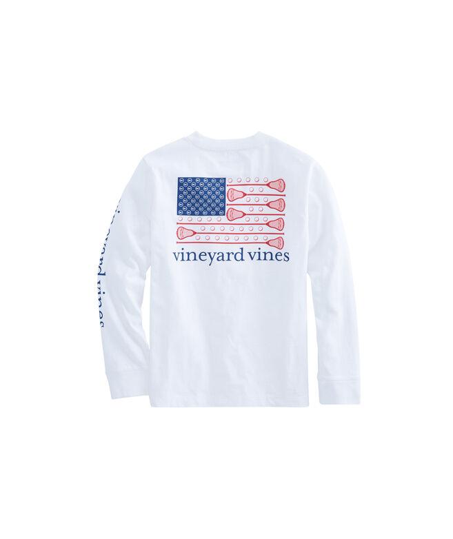 Boys' Long-Sleeve Lacrosse Flag Pocket T-Shirt