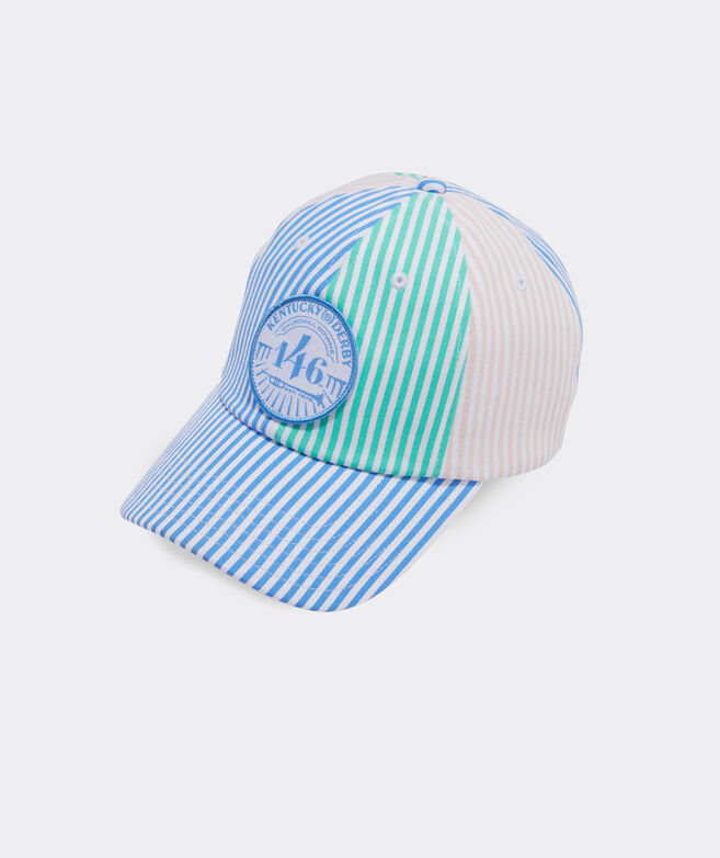 Kentucky Derby Logo Patch Striped Baseball Hat