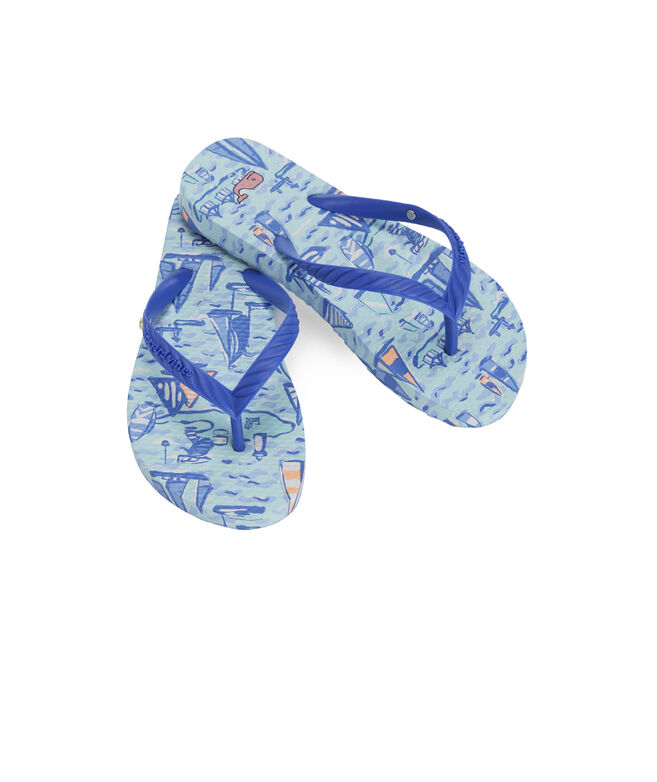 Girls Sailing The Vineyard Printed Flip Flops