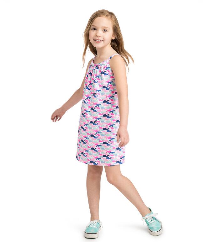 Girls Multi Whale Print Knit Dress