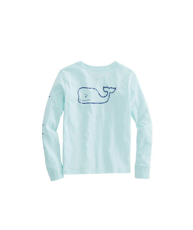 Girls Long-Sleeve Vintage Whale Pocket Tee