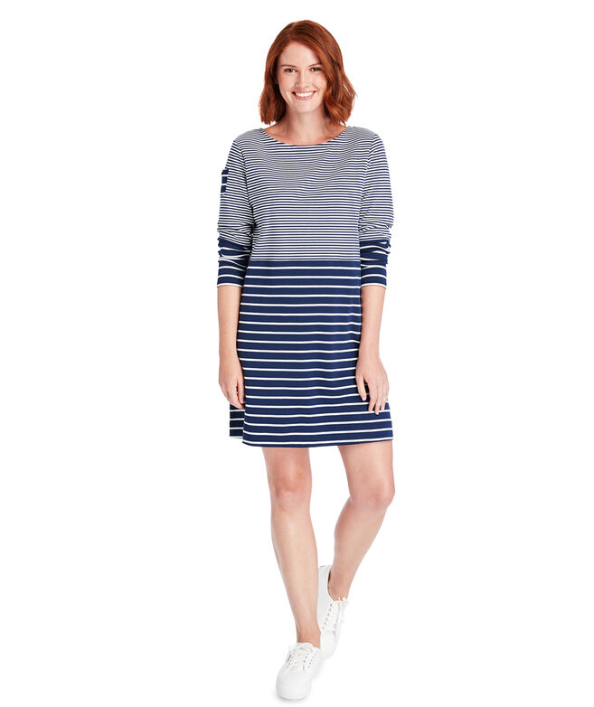 Mixed Stripe Long-Sleeve Knit Dress