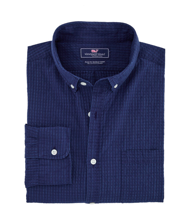 Slim Fit Indigo Seersucker Murray Shirt