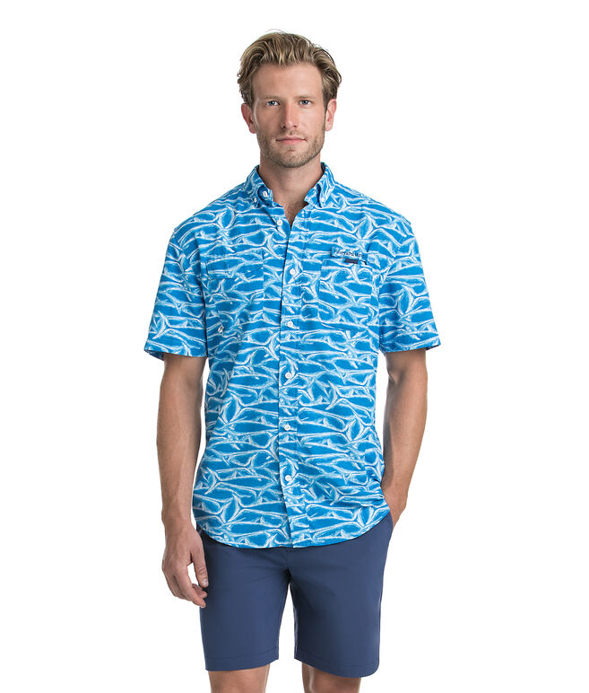 Short-Sleeve Brushed Marlin Printed Harbor Shirt