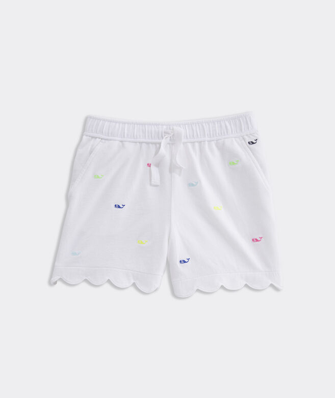 Girls' Embroidered Knit Scallop Shorts
