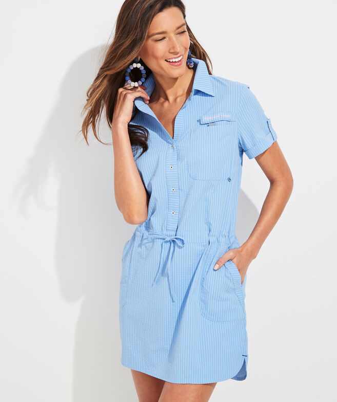 Vineyard Seersucker Harbor Shirt Dress