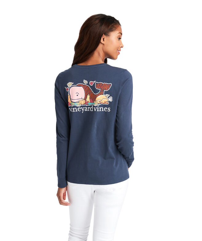 Thanksgiving Whale Long-Sleeve Pocket Tee