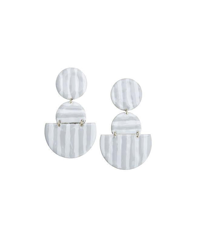 Striped Enamel Geometric Link Earrings