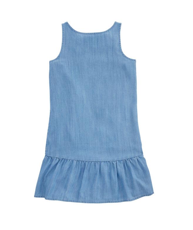 Girls Chambray Drop Waist Flounce Dress