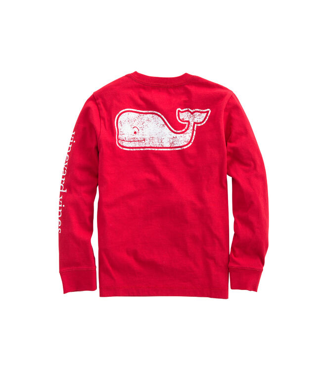 Boys Long-Sleeve Vintage Whale Fill Pocket T-Shirt