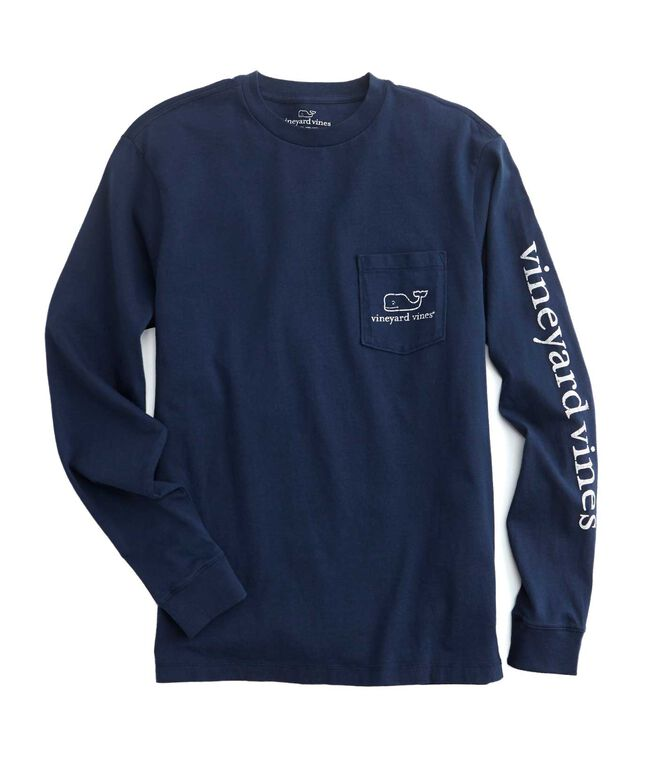 Long-Sleeve Vintage Whale Pocket T-Shirt
