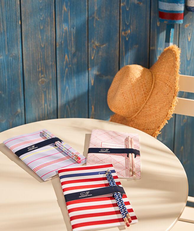 Beachy Stripe Notebook and Pencils Set