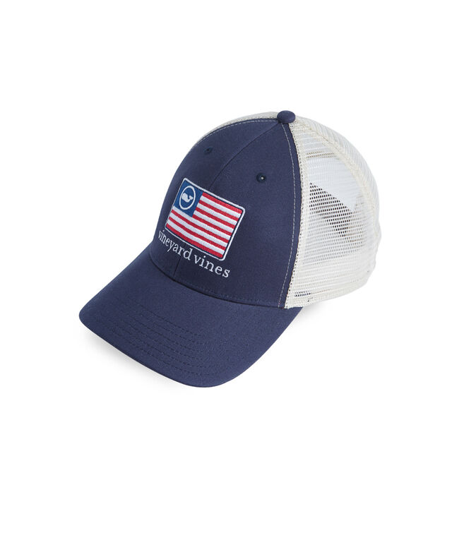 American Flag Whale Line Trucker Hat