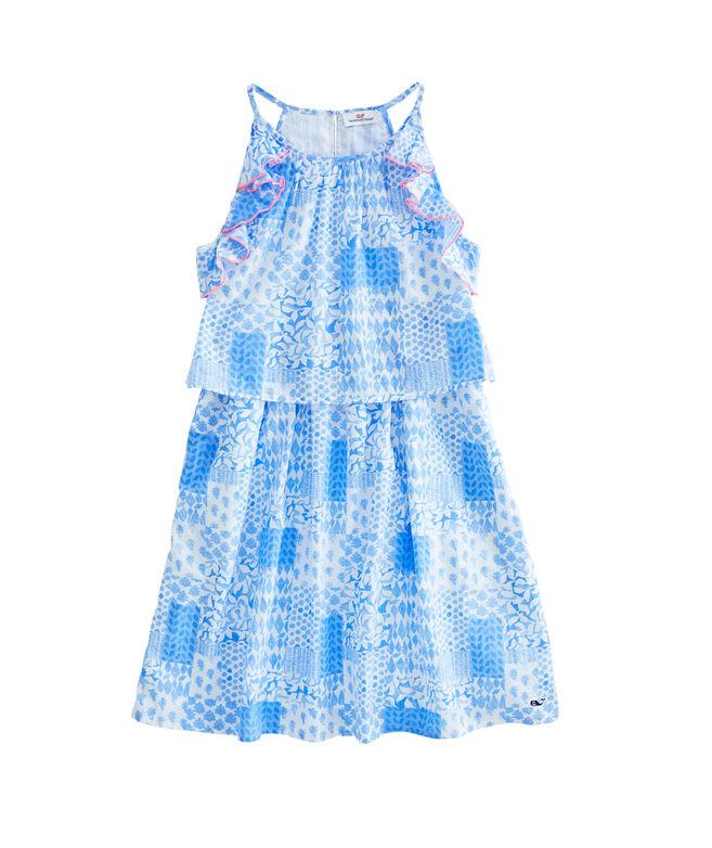 Girls Painted Patchwork Halter Dress
