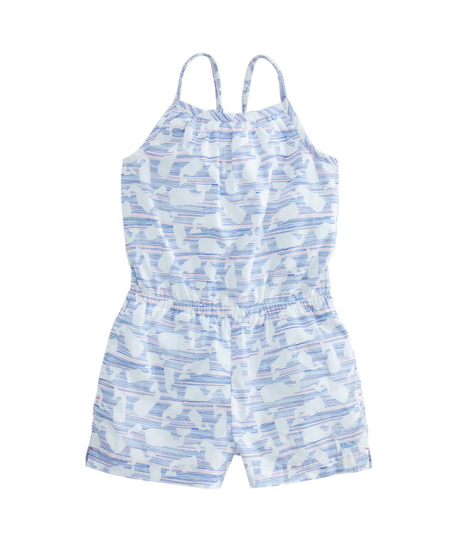 Girls Fine Line Whale Printed Woven Romper