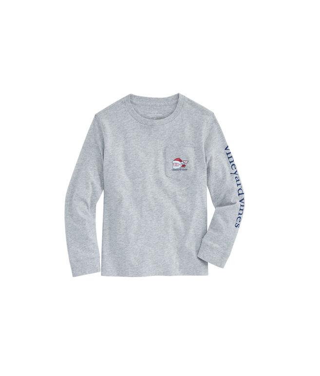 Boys Long-Sleeve Santa Whale Pocket T-Shirt