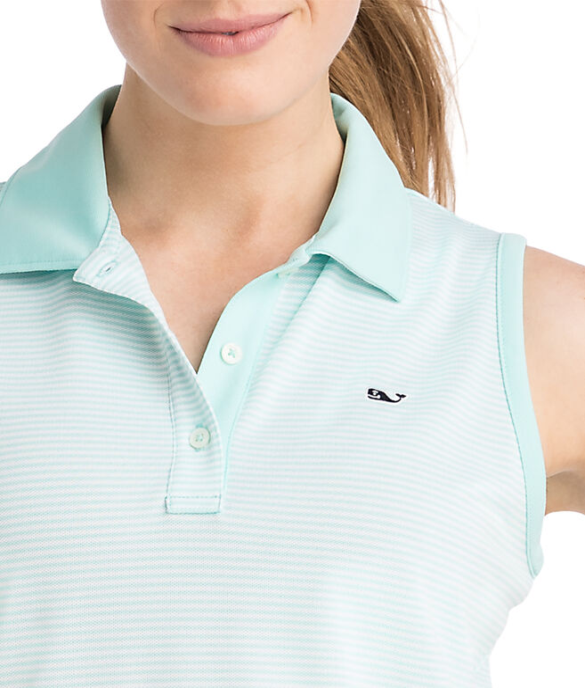 Sleeveless Stripe Pique Sport Polo