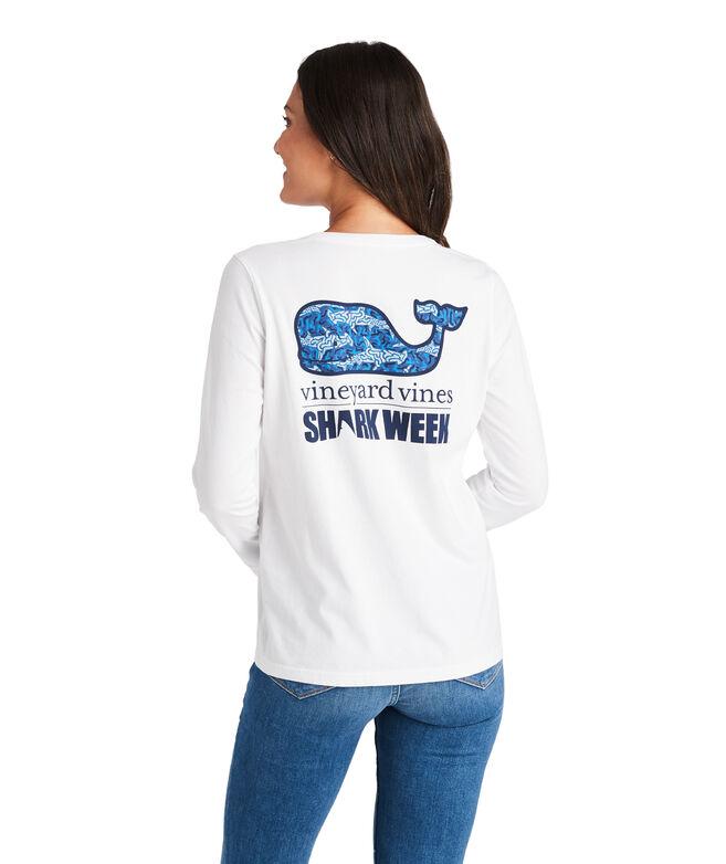 Long-Sleeve Camo Shark Whale Fill Pocket Tee
