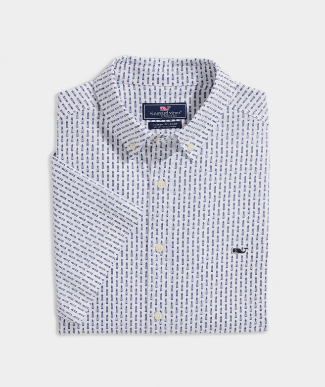 Classic Fit Lighthouse Print Short-Sleeve Shirt in Stretch Cotton