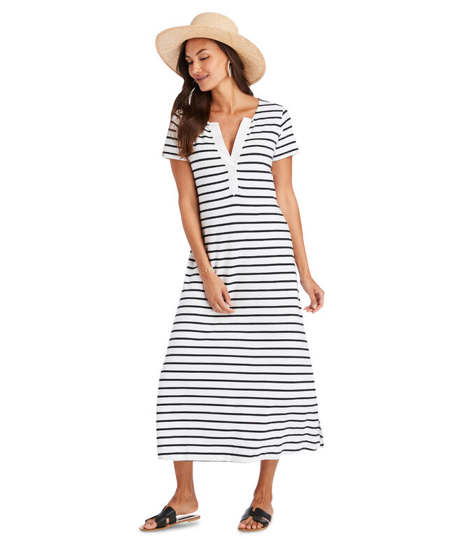 Notch Neck Striped Maxi Dress