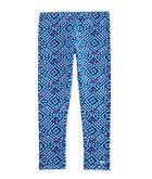 Girls Whale Tail Square Print Knit Leggings