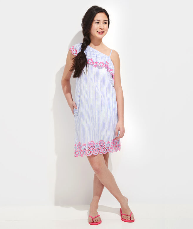 Girls' One-Shoulder Embroidered Dress