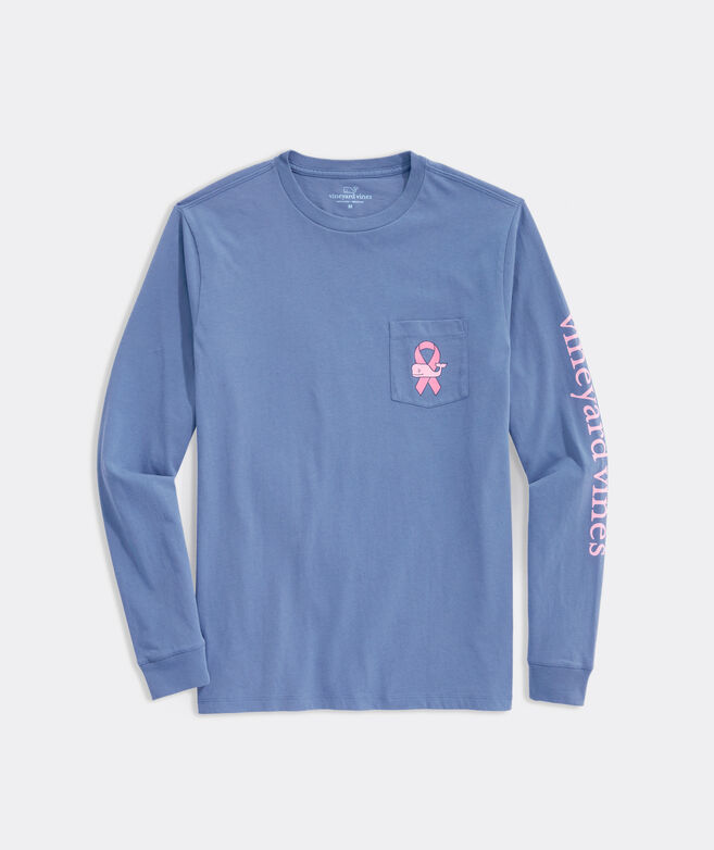 Men's Limited-Edition Breast Cancer Awareness Long-Sleeve Whale Ribbon Pocket Tee