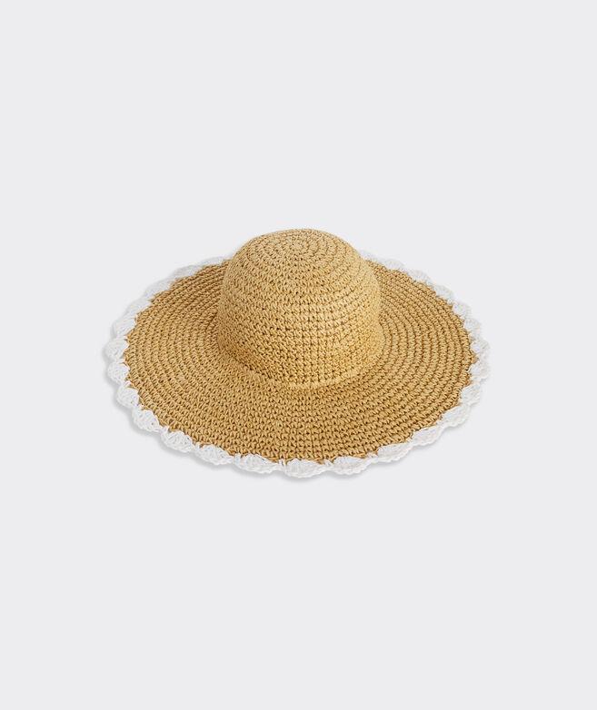 Scalloped Edge Straw Sun Hat