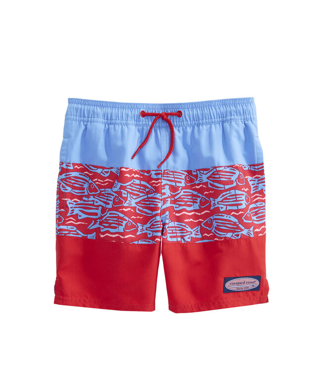 90135f245a95b Shop Boys Pieced Fish At Sea Chappy Trunks at vineyard vines
