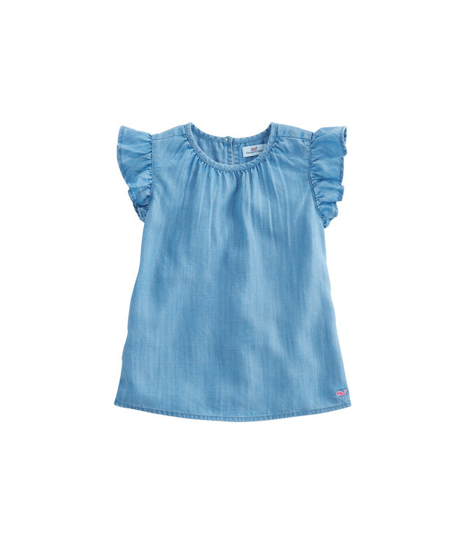 Girls Chambray Ruffle Sleeveless Top